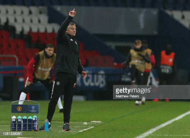 Manager Ole Gunnar Solskjaer of Manchester United watches from the touchline during the UEFA Champions League Group H stage match between Paris...