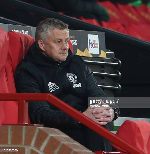 Manager Ole Gunnar Solskjaer of Manchester United watches from the dugout during the UEFA Europa League Semi-final First Leg match between Manchester...