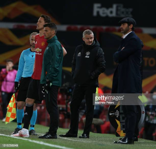 Manager Ole Gunnar Solskjaer of Manchester United watches from the touchline during the UEFA Europa League Semi-final First Leg match between...