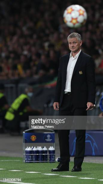 Manager Ole Gunnar Solskjaer of Manchester United watches from the touchline during the UEFA Champions League group F match between BSC Young Boys...
