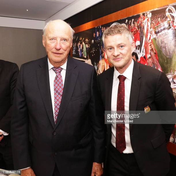 Manager Ole Gunnar Solskjaer of Manchester United with King Harald of Norway during the Premier League match between Manchester United and Liverpool...
