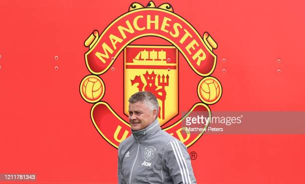 Manager Ole Gunnar Solskjaerof Manchester United in action during a first team training session at Aon Training Complex on March 11, 2020 in...