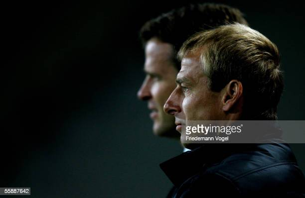 Manager Oliver Bierhof and Coach Jurgen Klinsmann of Germany in action during the friendly match between Turkey and Germany at the Ataturk Olympic...