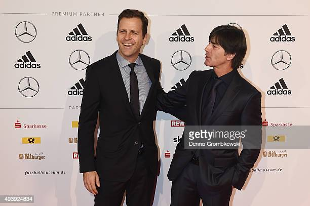 Manager Oliver Bierhoff and head coach Joachim Loew arrive for the Opening Gala of the German Football Museum on October 23, 2015 in Dortmund,...