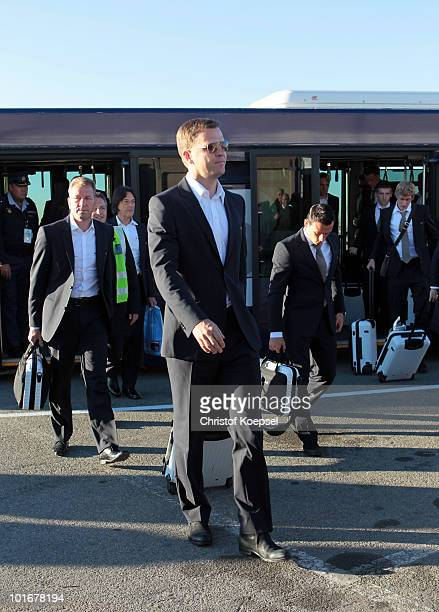 Manager Oliver Bierhoff and his German team arrive at Johannesburg's OR Tambo International Airport with the new Airbus A380 for the 2010 FIFA World...