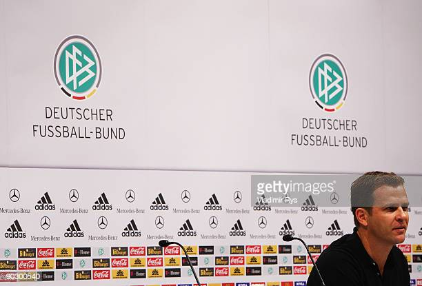 Manager Oliver Bierhoff attends the German Football National Team press conference at the Guerzenich Koeln on September 2 2009 in Cologne Germany