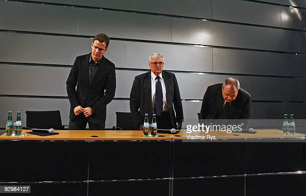 Manager Oliver Bierhoff, German Football Association president Theo Zwanziger and press officer Harald Stenger attend the press conference of the...