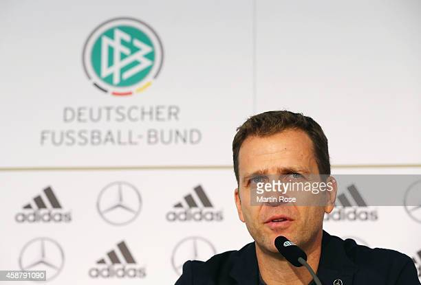 Manager Oliver Bierhoff of Germany laughs during a press conference ahead of their EURO 2016 Group D qualifying match against Gibraltar on November...