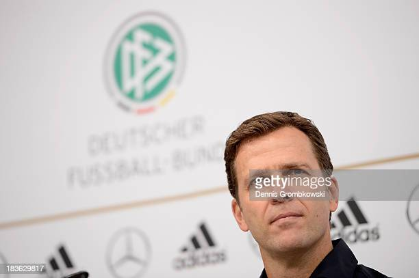 Manager Oliver Bierhoff of Germany reacts during a press conference ahead of their FIFA 2014 World Cup Qualifier match against Republic of Ireland at...