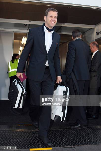 Manager Oliver Bierhoff of the German team arrives at Johannesburg's OR Tambo International Airport with the new Airbus A380 for the 2010 FIFA World...