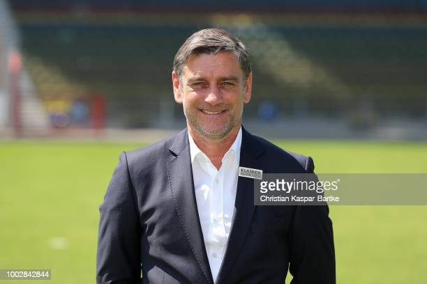Assistent coach Christian Eichner of Karlsruhe poses during the team presentation on July 20 2018 in Karlsruhe Germany