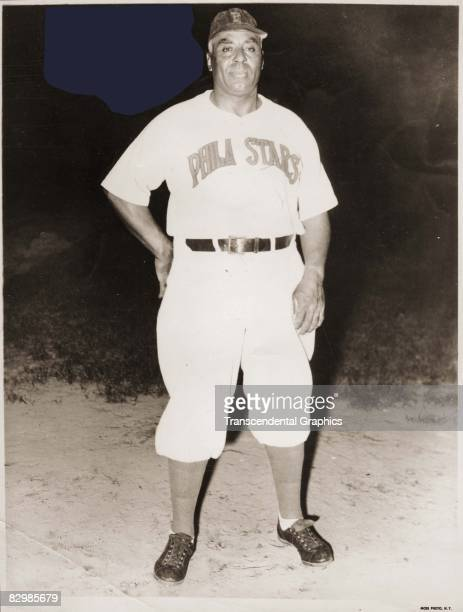 Manager Oscar Charleston, poses on the mound in his Philadelphia Stars uniform before a Negro League night game in 1949.