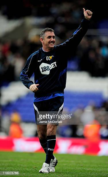 Manager Owen Coyle of Bolton Wanderers celebrates at the final whistle during the FA Cup sponsored by EOn Sixth Round match between Birmingham City...