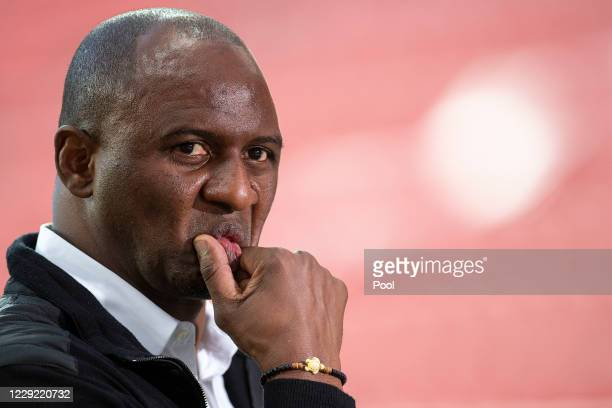 Manager Patrick Vieira of OGC Nice looks on ahead of the UEFA Europa League Group C stage match between Bayer 04 Leverkusen and OGC Nice at BayArena...
