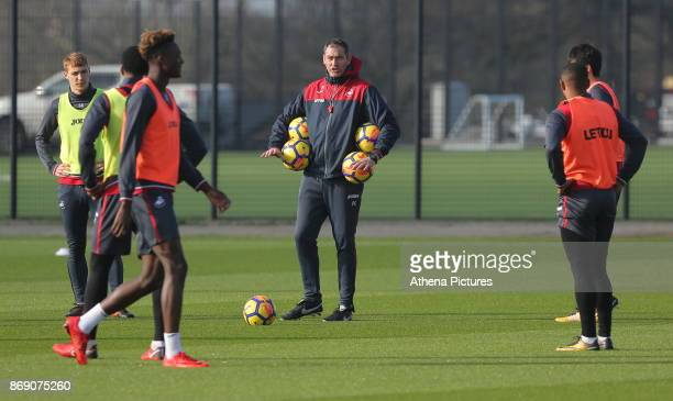 Manager Paul Clement gives instructions to his players during the Swansea City Training at The Fairwood Training Ground on November 01 2017 in...