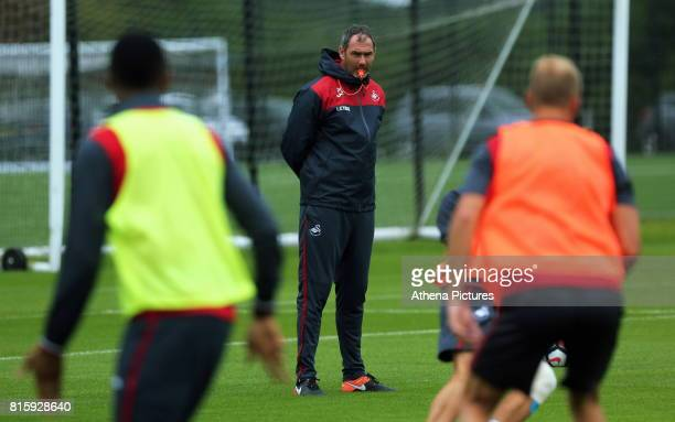 Manager Paul Clement observes his players train during the Swansea City Training at The Fairwood Training Ground on July 11 2017 in Swansea Wales