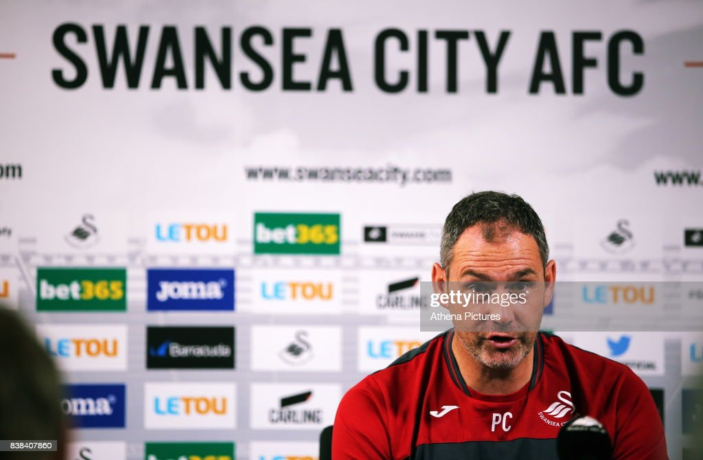 Manager Paul Clement speaks to members of the press during the Swansea City Training and Press Conference at The Fairwood Training Ground on August 24, 2017 in Swansea, Wales.