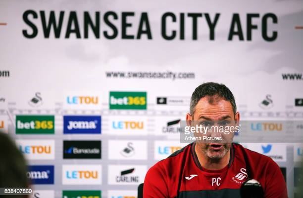 Manager Paul Clement speaks to members of the press during the Swansea City Training and Press Conference at The Fairwood Training Ground on August...