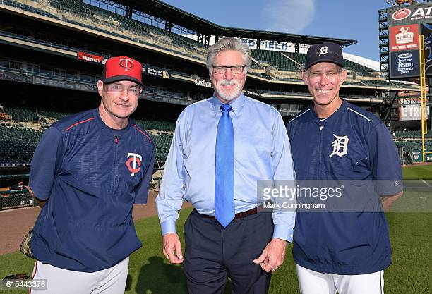Manager Paul Molitor of the Minnesota Twins poses for a photo with former Detroit Tigers pitcher Jack Morris and former Tigers shortstop Alan...