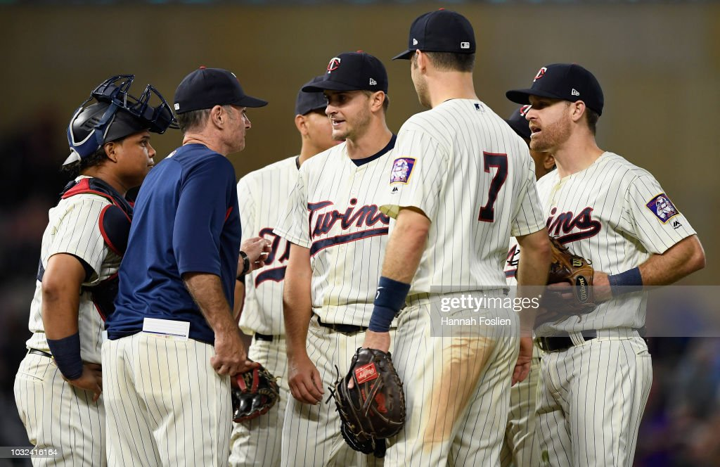 Manager Paul Molitor #4 of the Minnesota Twins pulls Jake Odorizzi #12 from the game against the New York Yankees during the eighth inning on September 12, 2018 at Target Field in Minneapolis, Minnesota. The Twins defeated the Yankees 3-1.
