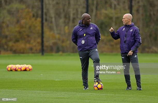 Manager Paul Williams and Assistant manager Bob Bradley during the Swansea City Training at The Fairwood Training Ground on November 16 2016 in...