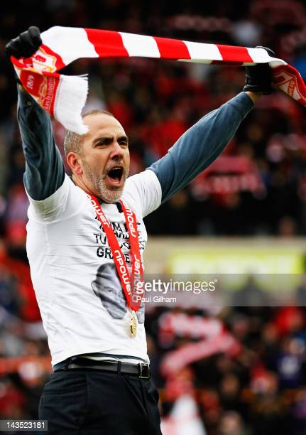Manager Paulo Di Canio of Swindon Town celebrates at the end of the match after Swindon Town were crownded champions during the npower League Two...