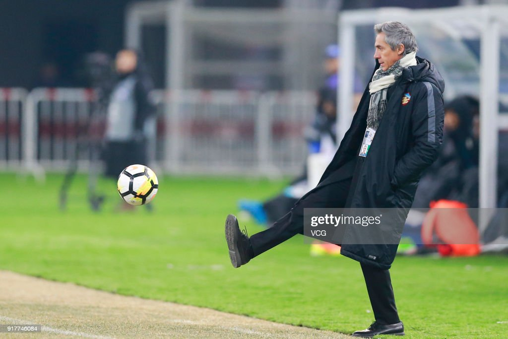 Manager Paulo Sousa of Tianjin Quanjian in action during the 2018 AFC Champions League Group E match between Tianjin Quanjian FC and Kitchee SC at Tianjin Olympic Center Stadium on February 13, 2018 in Tianjin, China.