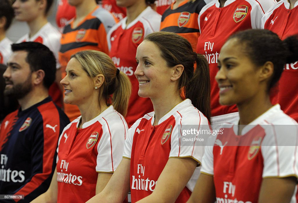 Manager Pedro Martinez Losa, Kelly Smith, Casey Stoney and Rachel Yankey of Arsenal Ladies during the Arsenal Ladies team photo at London Colney on January 29, 2016 in St Albans, England.