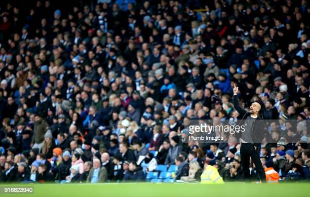 Manager Pep Guardiola of Manchester City during the Premier League match between Manchester City and Leicester City at Etihad Stadium on February...