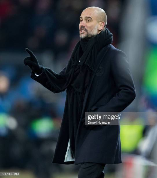 Manager Pep Guardiola of Manchester City gestures during the UEFA Champions League Round of 16 First Leg match between FC Basel and Manchester City...