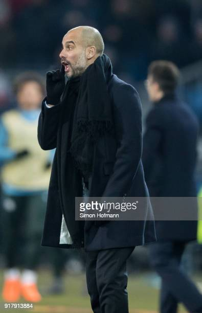 Manager Pep Guardiola of Manchester City gives direction during the UEFA Champions League Round of 16 First Leg match between FC Basel and Manchester...