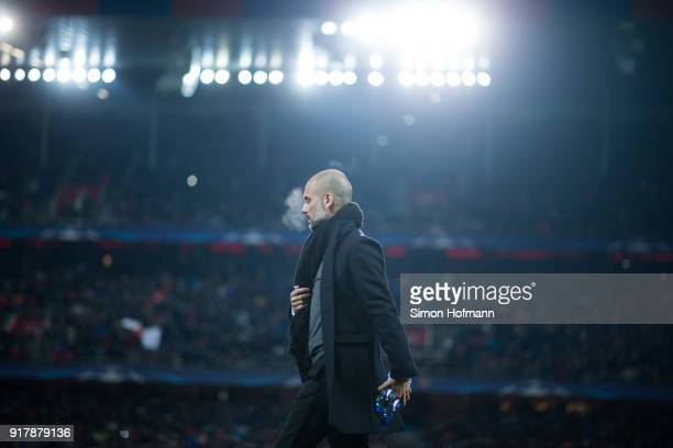Manager Pep Guardiola of Manchester City looks on during the UEFA Champions League Round of 16 First Leg match between FC Basel and Manchester City...