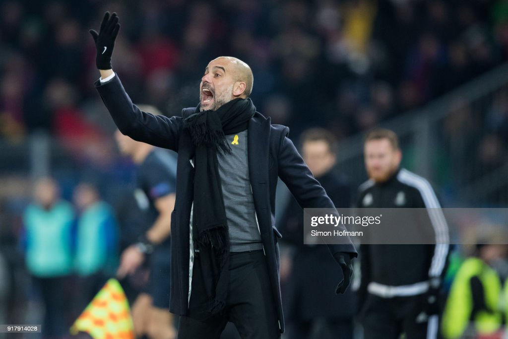 Manager Pep Guardiola of Manchester City reacts during the UEFA Champions League Round of 16 First Leg match between FC Basel and Manchester City at St. Jakob-Park on February 13, 2018 in Basel, Switzerland.