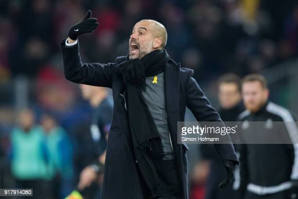 Manager Pep Guardiola of Manchester City reacts during the UEFA Champions League Round of 16 First Leg match between FC Basel and Manchester City at...