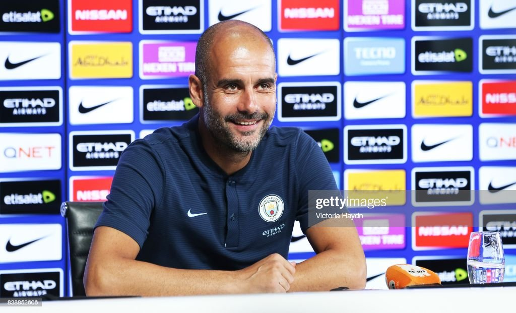 Manager Pep Guardiola of Manchester City speaks during the press conference at Manchester City Football Academy on August 25, 2017 in Manchester, England.