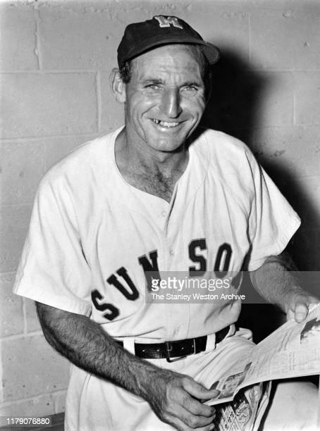 Manager Pepper Martin of the Miami Sun Sox of the Florida International League poses for a portrait while reading the newspaper circa 1949. The Sun...