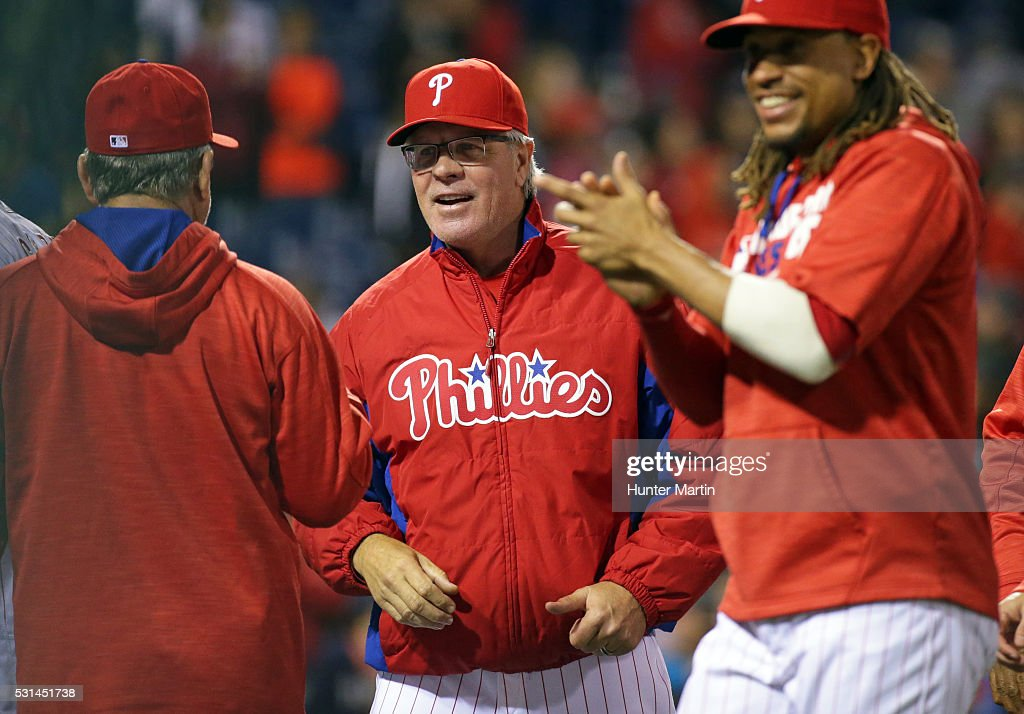 Manager Pete Mackanin #45 of the Philadelphia Phillies smiles after winning a game against the Cincinnati Reds at Citizens Bank Park on May 14, 2016 in Philadelphia, Pennsylvania. The Phillies won 4-3.