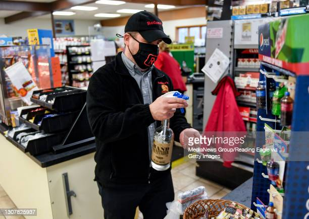 Manager Pete Ostrowski puts some hand sanitizer on his hands at the Redner's Quick Shoppe on Tuckerton Road in Muhlenberg township Thursday afternoon...