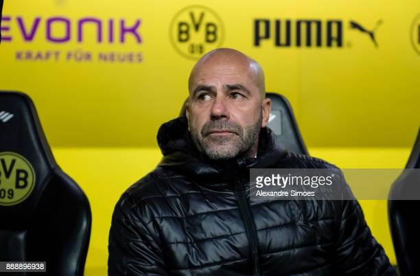Manager Peter Bosz of Borussia Dortmund during the Bundesliga match between Borussia Dortmund and SV Werder Bremen at Signal Iduna Park on December 9...