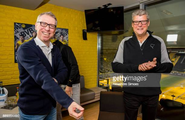 Manager Peter Stoeger of Borussia Dortmund after the press conference with stadium announcer Norbert Dickel r at Signal Iduna Park on December 10...