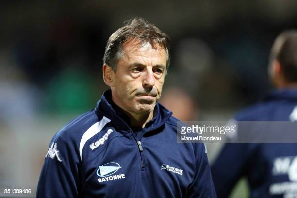 Manager Pierre Berbizier of Bayonne during the French Pro D2 match between Aviron Bayonnais and Grenoble on September 21 2017 in Bayonne France