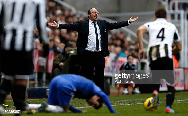 Manager Rafa Benitez of Chelsea reacts during the Premier League match between Newcastle United and Chelsea at St James Park on February 2 2013 in...