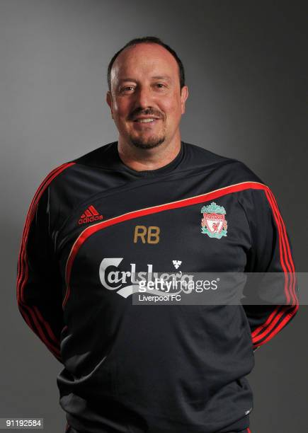 Manager Rafa Benitez of Liverpool FC poses during a Liverpool FC 2009/2010 season photocall in Liverpool, England.