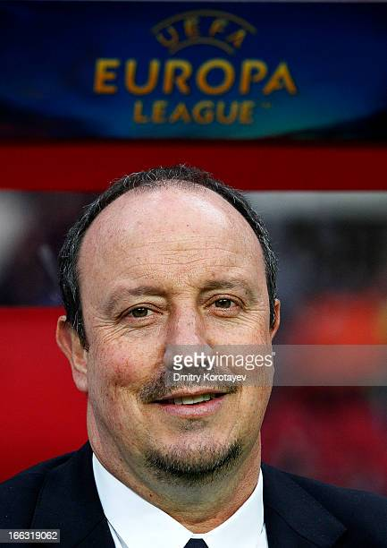 Manager Rafael Benitez of Chelsea FC looks on during the UEFA Europa League quarter final second leg match between FC Rubin Kazan and Chelsea FC at...