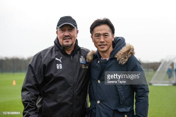Manager Rafael Benitez poses for a photograph with Toshiya Fujita from the Japanese Football Association during the Newcastle United Training Session...