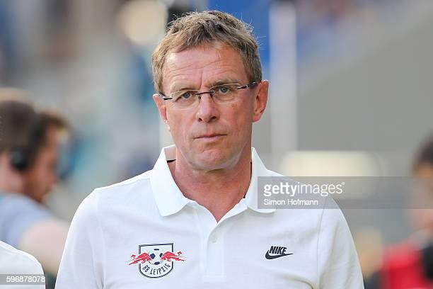 Manager Ralf Rangnick of Leipzig looks on prior to the Bundesliga match between TSG 1899 Hoffenheim and RB Leipzig at Wirsol RheinNeckarArena on...