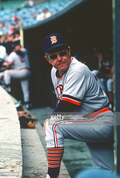 Manager Ralph Houk of the Detroit Tigers looks on from the dugout against the New York Yankees during an Major League Baseball game circa 1978 at...