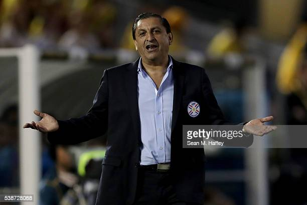 Manager Ramon Diaz of Paraguay shrugs his shoulders upset about a call during the second half of a 2016 Copa America Centenario Group A match between...