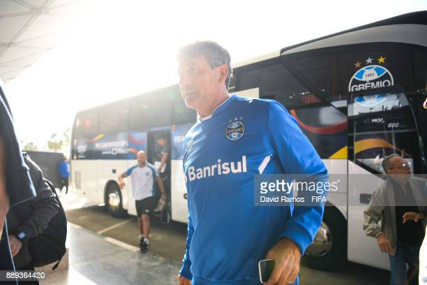 Manager Renato Portaluppi of Gremio FBPA arrives at a training session at Tahnoun Bin Mohammed stadium on December 10 2017 in Al Ain United Arab...