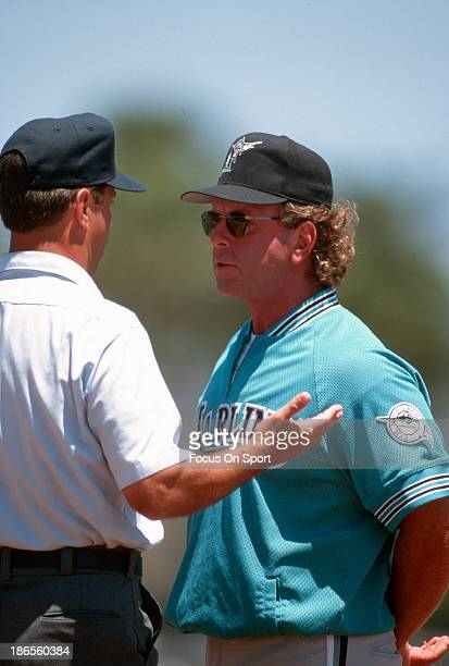 Manager Rene Lachemann of the Florida Marlins argues with an umpire during an Major League Baseball game circa 1995 Latchemann managed the Marlins...
